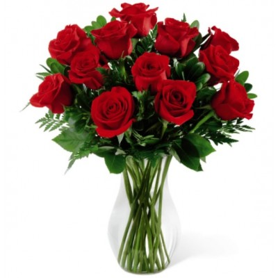 One Dozen Red Roses Bouquet with Vase